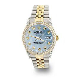 Rolex Datejust 2-Tone 36mm 1.4ct Diamond Bezel/Lugs/Sky Blue MOP Dial Watch