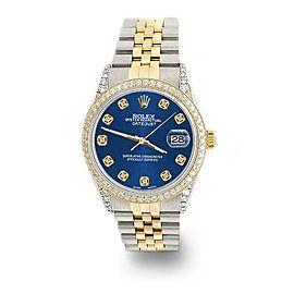 Rolex Datejust 2-Tone 36mm 1.4ct Diamond Bezel/Lugs/Cobalt Blue Dial Watch