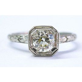 Mannie Blossom 18Kt Fancy Yellow Round Diamond Engagement White Gold Ring .70Ct