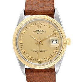 Rolex Date Mens Stainless Steel Brown Strap Yellow Gold Watch 15053