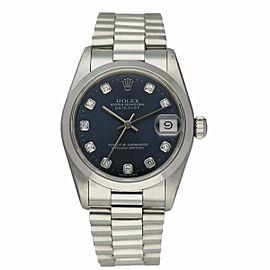 Rolex Datejust 68246 Platinum Blue Dial Midsize Watch