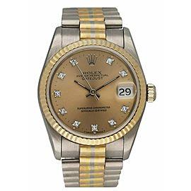Rolex DateJust 68279 Diamond Dial & 18K White Gold Tridor Ladies Watch