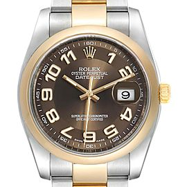 Rolex Datejust 36 Steel Yellow Gold Brown Dial Mens Watch 116203