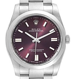 Rolex Oyster Perpetual 36 Red Grape Dial Mens Watch 116000