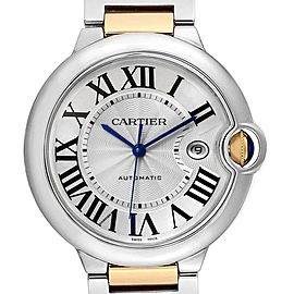 Cartier Ballon Bleu Silver Dial Steel Yellow Gold Mens Watch W69009Z3