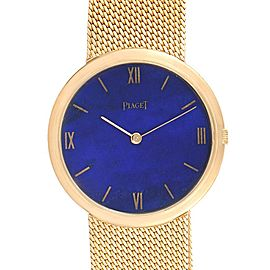 Piaget 18k Yellow Gold Lapis Lazuli Dial Vintage Mens Watch 902B11