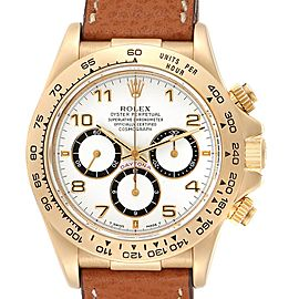 Rolex Daytona Yellow Gold White Dial Chronograph Mens Watch 16518