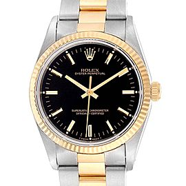 Rolex Oyster Perpetual Steel Yellow Gold Black Dial Mens Watch 14233