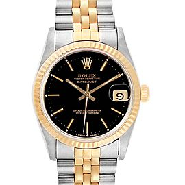 Rolex Datejust Midsize Steel Yellow Gold Black Dial Ladies Watch 68273
