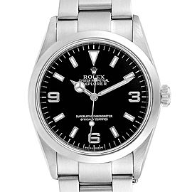 Rolex Explorer I 36 Black Dial Oyster Bracelet Steel Mens Watch 114270