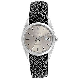 Rolex OysterDate Precision Grey Strap Steel Vintage Mens Watch 6694