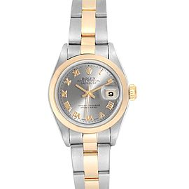 Rolex Datejust 26 Steel Yellow Gold Slate Roman Dial Ladies Watch 79163