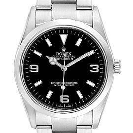 Rolex Explorer I Black Dial Domed Bezel Steel Mens Watch 114270