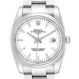 Rolex Date White Dial Oyster Bracelet Steel Mens Watch 115200