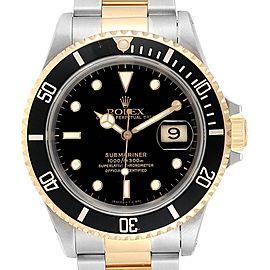 Rolex Submariner Date Steel 18K Yellow Gold Mens Watch 16613
