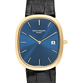 Patek Philippe Golden Ellipse Yellow Gold Blue Dial Mens Watch 3747