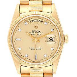 Rolex President Day-Date Yellow Gold Bark Finish Diamond Mens Watch 18248