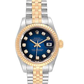 Rolex Datejust Steel Yellow Gold Blue Vignette Diamond Ladies Watch 179173