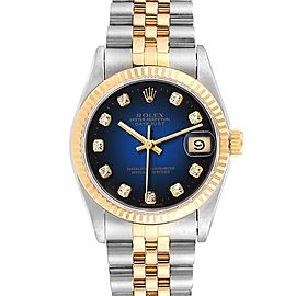 Rolex Datejust Midsize 31 Steel Yellow Gold Vignette Diamond Watch 68273