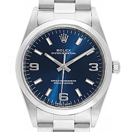 Rolex Air King 34 Blue Dial Domed Bezel Mens Watch 114200
