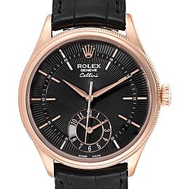 Rolex Cellini Dual Time Everose Rose Gold Automatic Mens Watch 50525