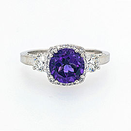 Tacori 18k White Gold Amethyst, Diamond Ring
