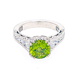 Tacori 18k White Gold Peridot, Diamond Ring