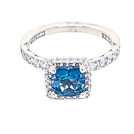 Tacori 18k White Gold London Blue Topaz, Diamonds Ring
