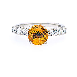 Tacori 18k White Gold Citrine, Diamond Ring