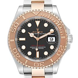 Rolex Yachtmaster 40 Everose Gold Steel Black Dial Watch 116621 Box Card