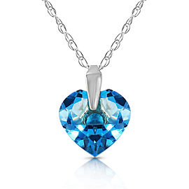 1.15 CTW 14K Solid White Gold Hope Is Life Blue Topaz Necklace