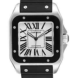 Cartier Santos 100 Steel Black Rubber Mens Watch W20121U2 Box Papers