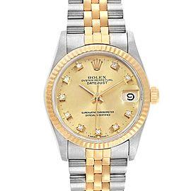 Rolex Datejust Midsize 31 Steel Yellow Gold Diamond Ladies Watch 68273