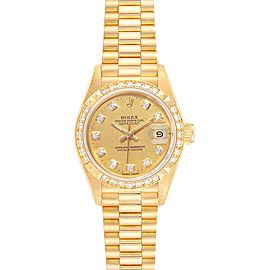 Rolex President 26 Yellow Gold Pyramid Bezel Diamond Ladies Watch 69268