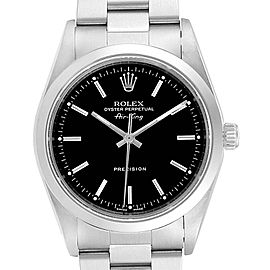 Rolex Air King 34 Black Dial Domed Bezel Mens Watch 14000