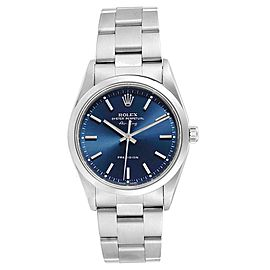 Rolex Air King 34 Blue Baton Dial Automatic Steel Mens Watch 14000