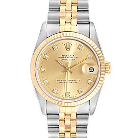 Rolex Datejust Midsize 31 Steel Yellow Gold Diamond Ladies Watch 68273