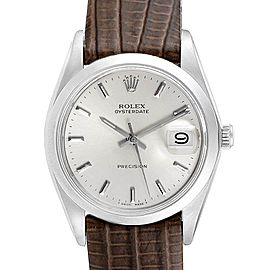 Rolex OysterDate Precision Brown Card Steel Vintage Mens Watch 6694