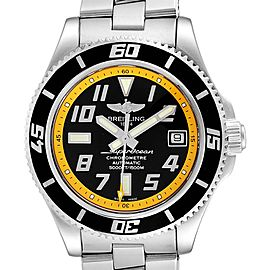 Breitling Superocean 42 Abyss Black Yellow Steel Mens Watch A17364