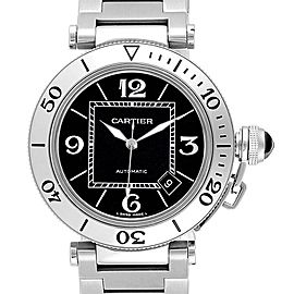 Cartier Pasha Seatimer Black Dial Automatic Mens Watch W31077M7