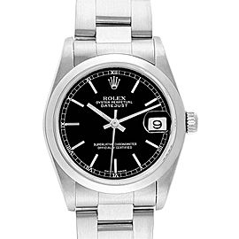 Rolex Datejust 31 Midsize Black Baton Dial Steel Ladies Watch 78240
