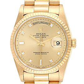 Rolex President Day-Date Yellow Gold Diamonds Mens Watch 18238 Box Papers