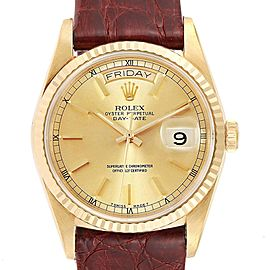 Rolex President Day-Date 36 Yellow Gold Brown Strap Mens Watch 18238
