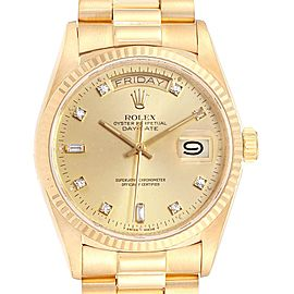 Rolex President Day Date 18k Yellow Gold Diamond Mens Watch 18038