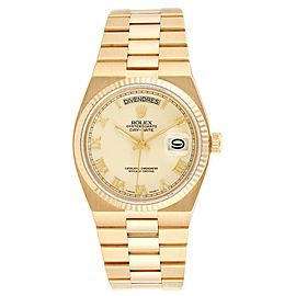 Rolex Oysterquartz President Yellow Gold Ivory Dial Mens Watch 19018