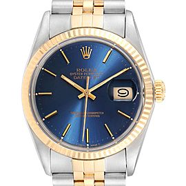 Rolex Datejust Steel Yellow Gold Blue Dial Vintage Mens Watch 16013