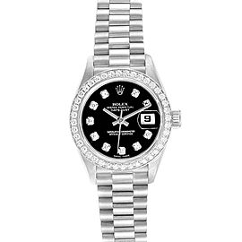 Rolex President Datejust White Gold Black Diamond Dial Ladies Watch 79179