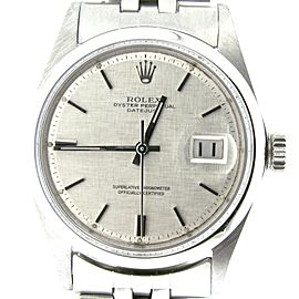 Mens Rolex Stainless Steel Datejust Silver Linen 1603