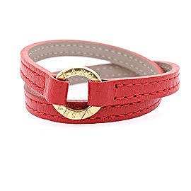 Aaron Basha Red Double Wrap Leather Bracelet with 18k Yellow Gold Clasp