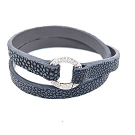 Aaron Basha Dark Grey Stingray Double Wrap Bracelet with 18k White Gold Diamond Clasp